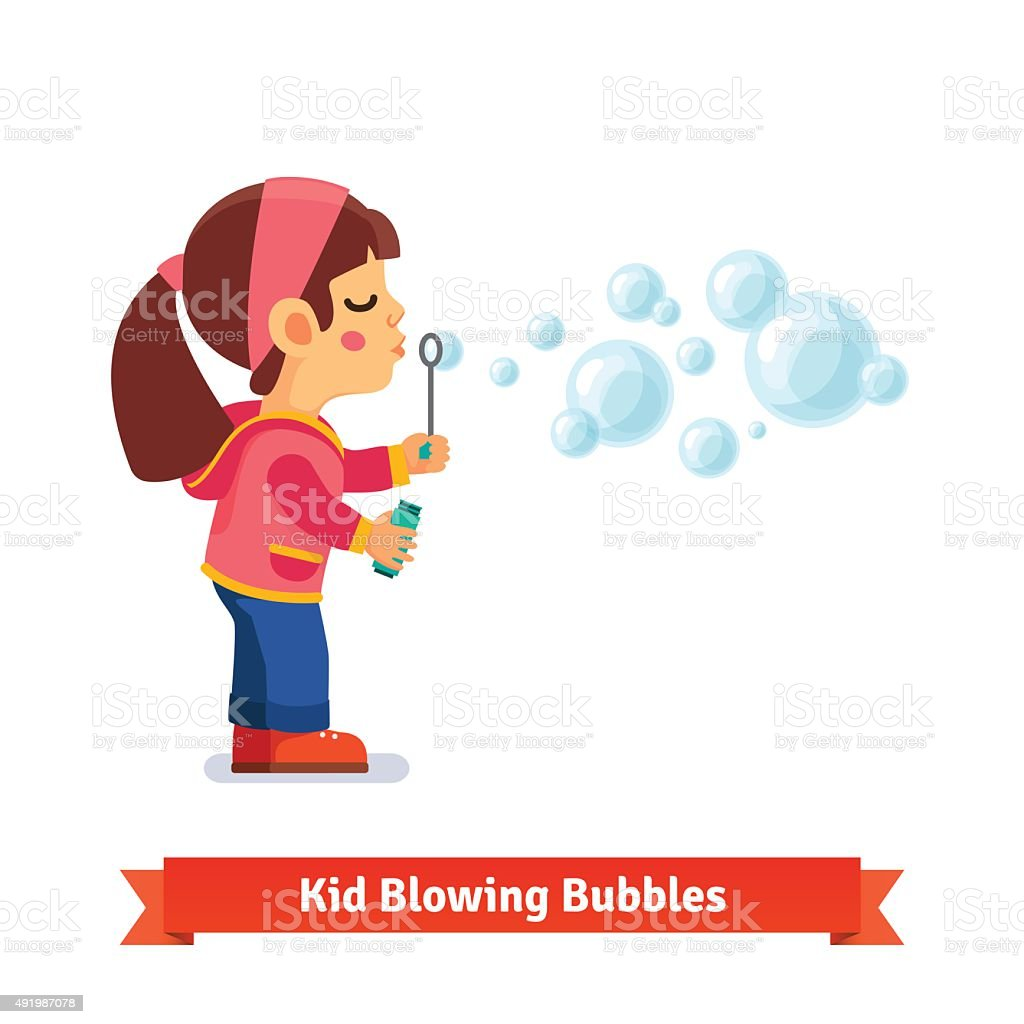 Cute little girl blowing soap bubbles through wand vector art illustration