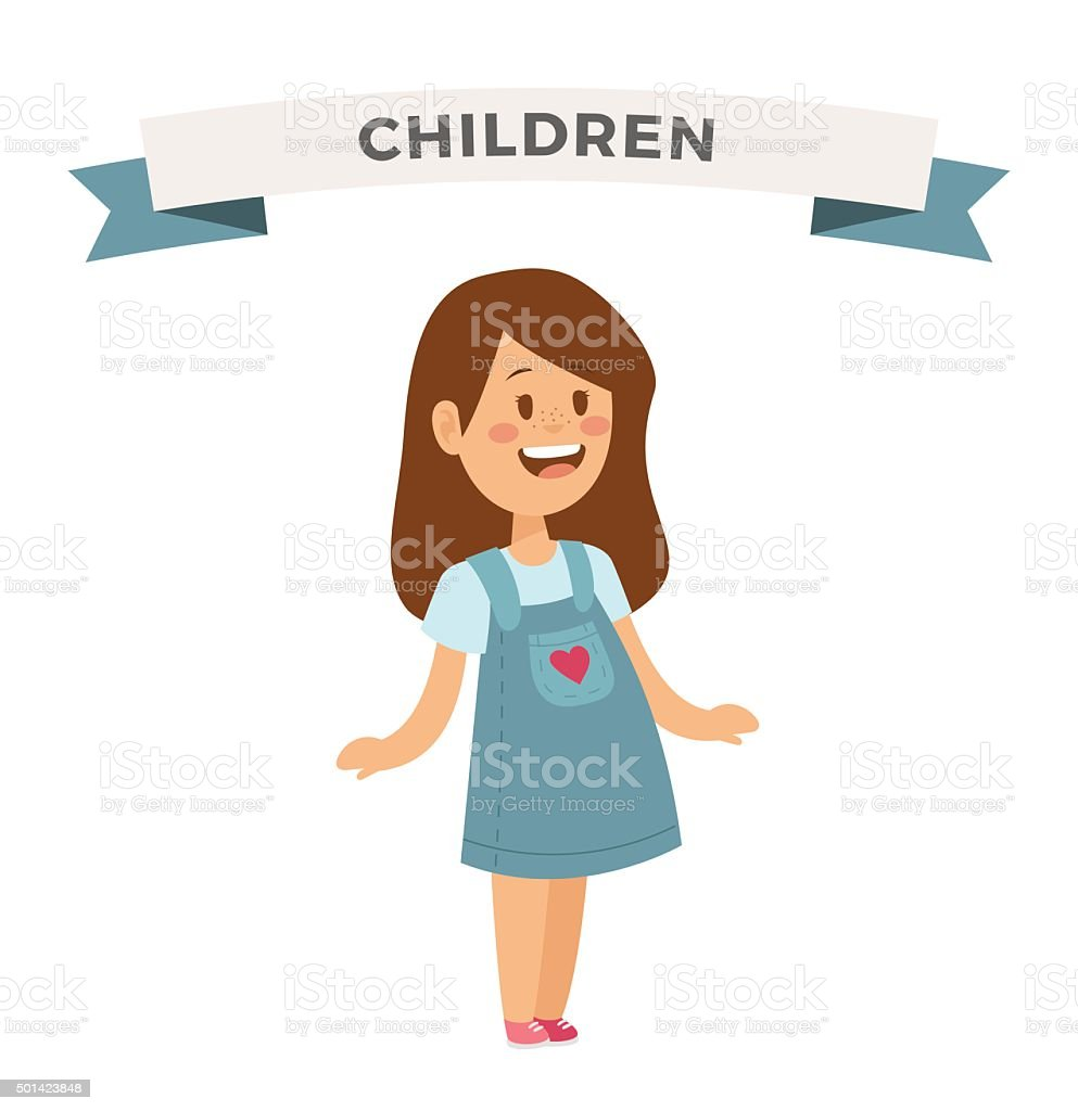 Cute little girl cute dress vector art illustration