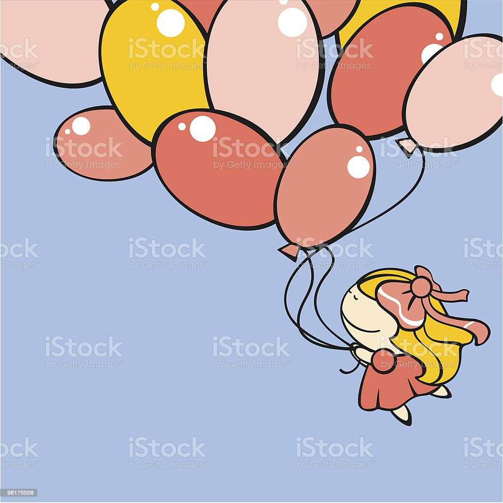 Cute little girl flying with the balloons vector art illustration