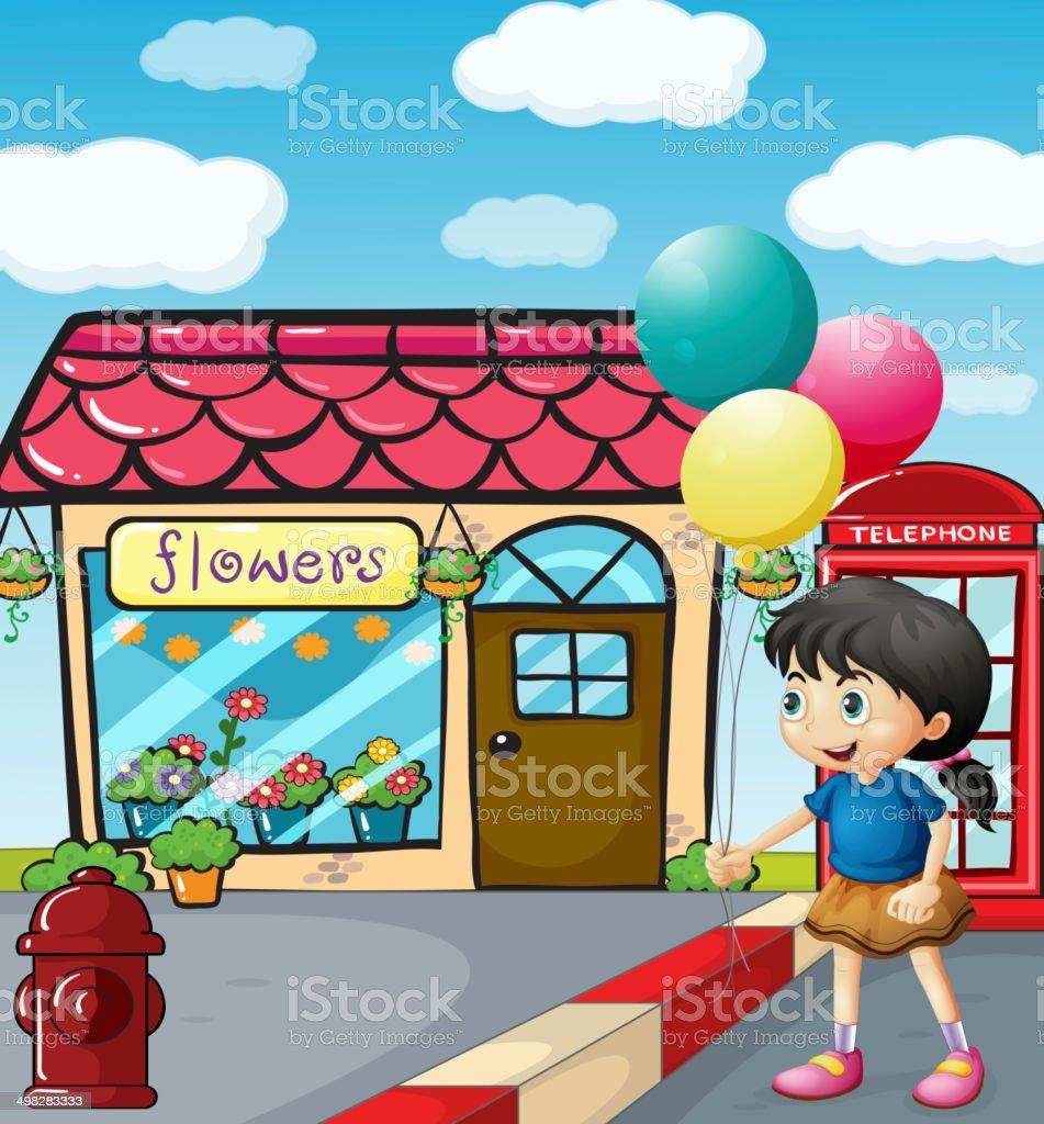 Cute little girl holding balloons royalty-free stock vector art