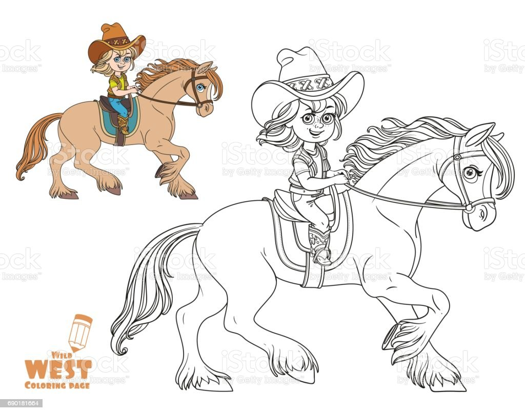cute little in a cowboy suit riding a horse coloring page on