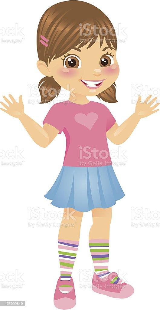 Cute Little Girl in Pig Tails vector art illustration