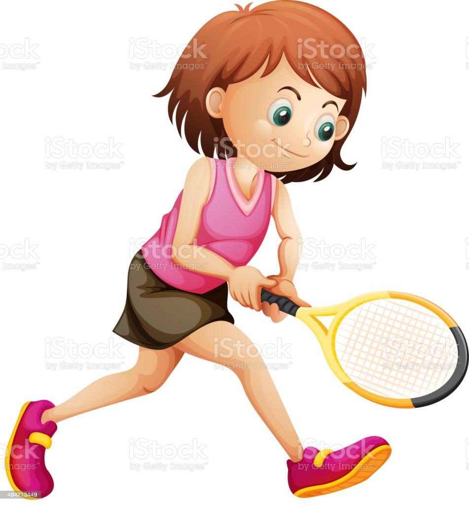 Cute little girl playing tennis vector art illustration