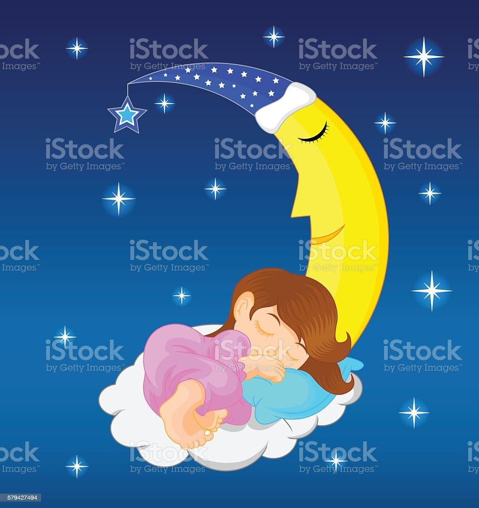 cute little girl sleeping on moon vector art illustration