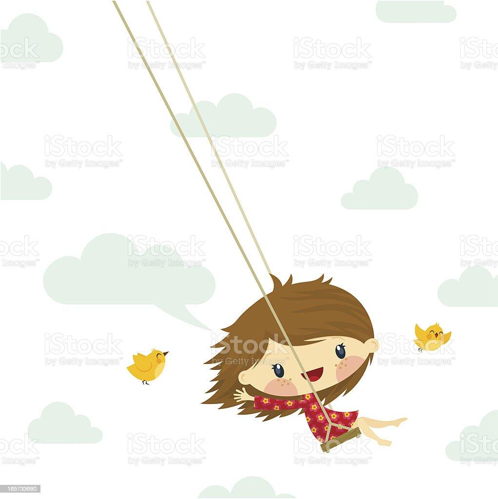 cute little girl swinging bird sky illustration vector twitter royalty-free stock vector art