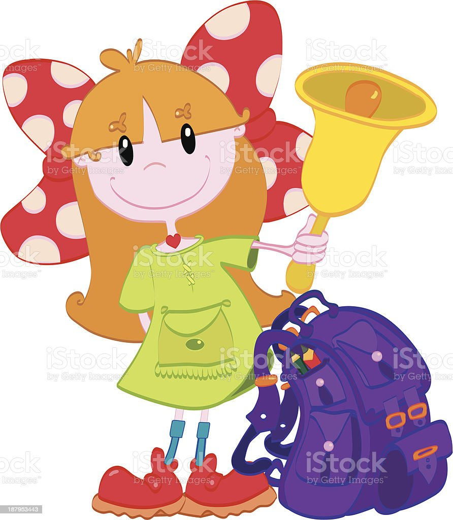 Cute little girl with a bell royalty-free stock vector art