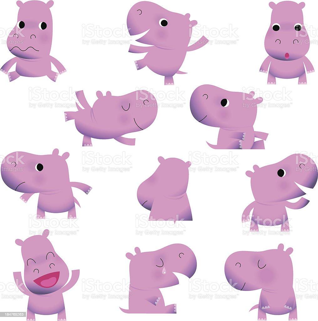 Cute Little Hippos. vector art illustration
