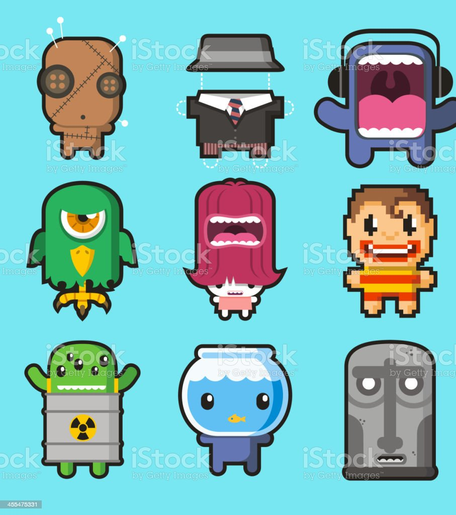 Cute little monsters 2 royalty-free stock vector art