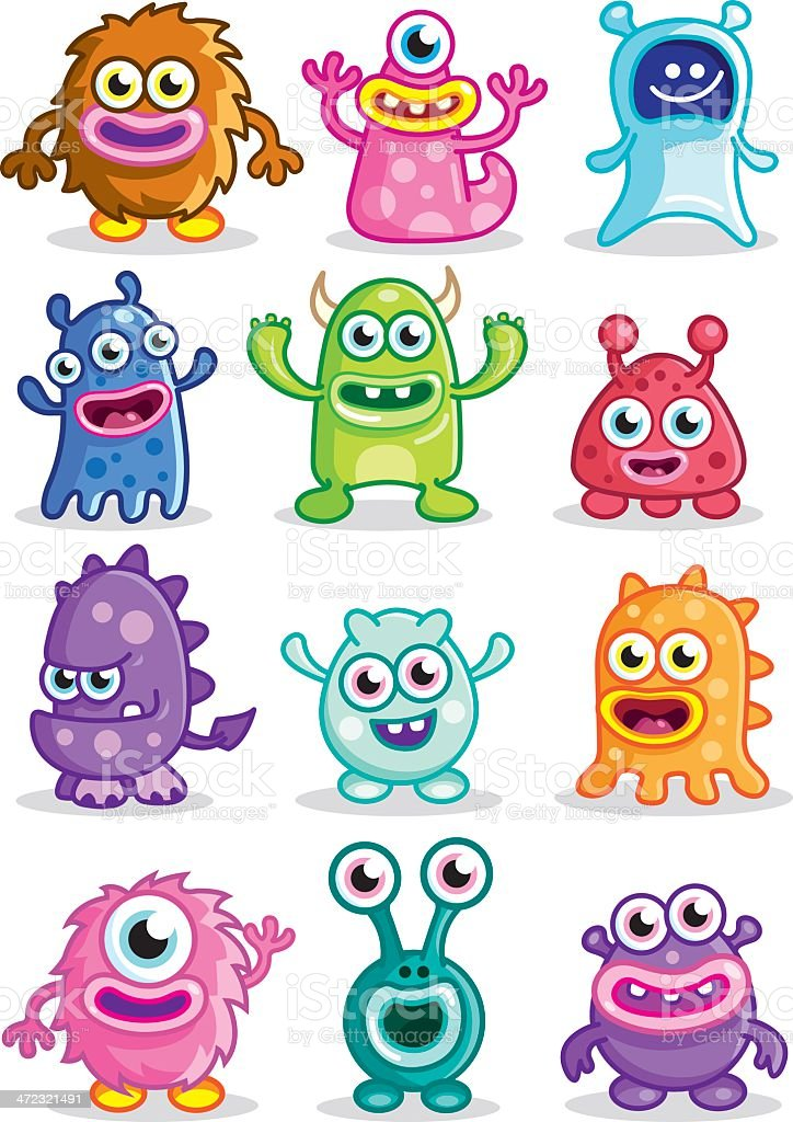 Cute Little monsters vector art illustration