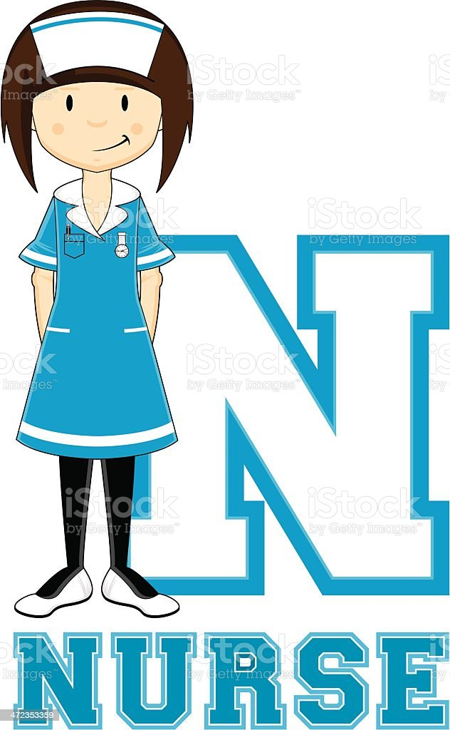 Cute Little Nurse Learning Letter N royalty-free stock vector art