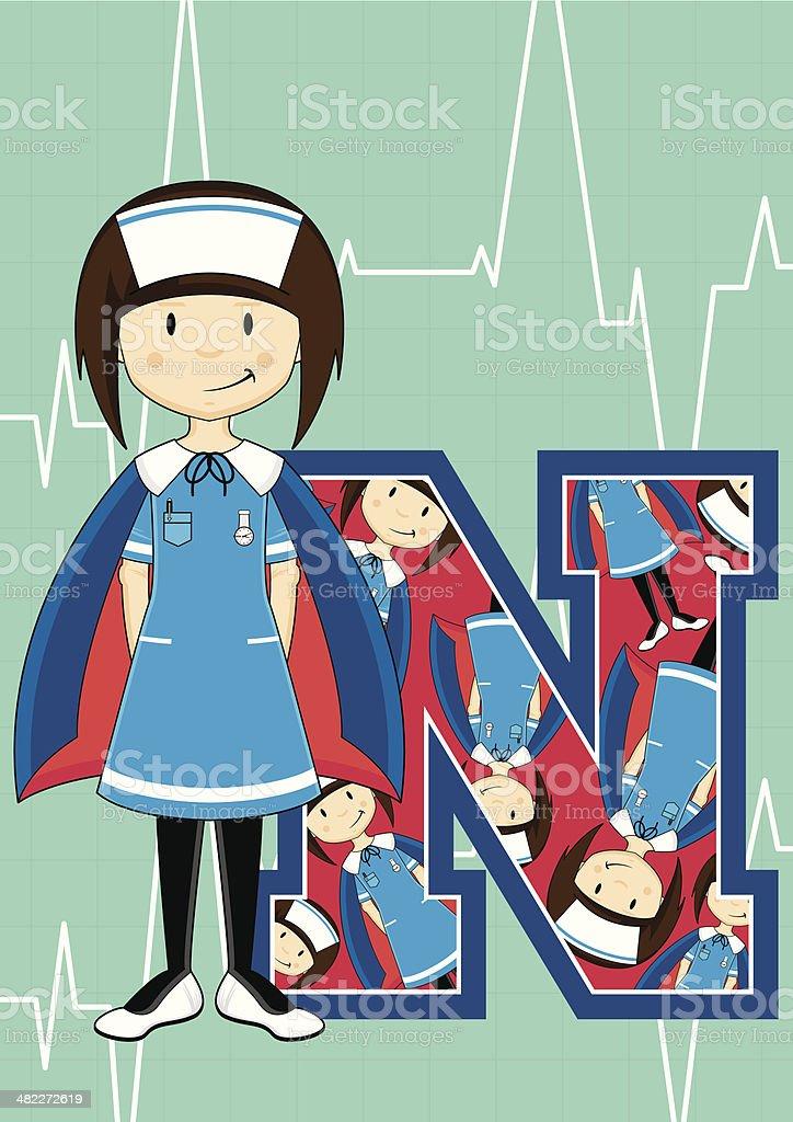 Cute Little Nurse Learning Letter N royalty-free stock vector art