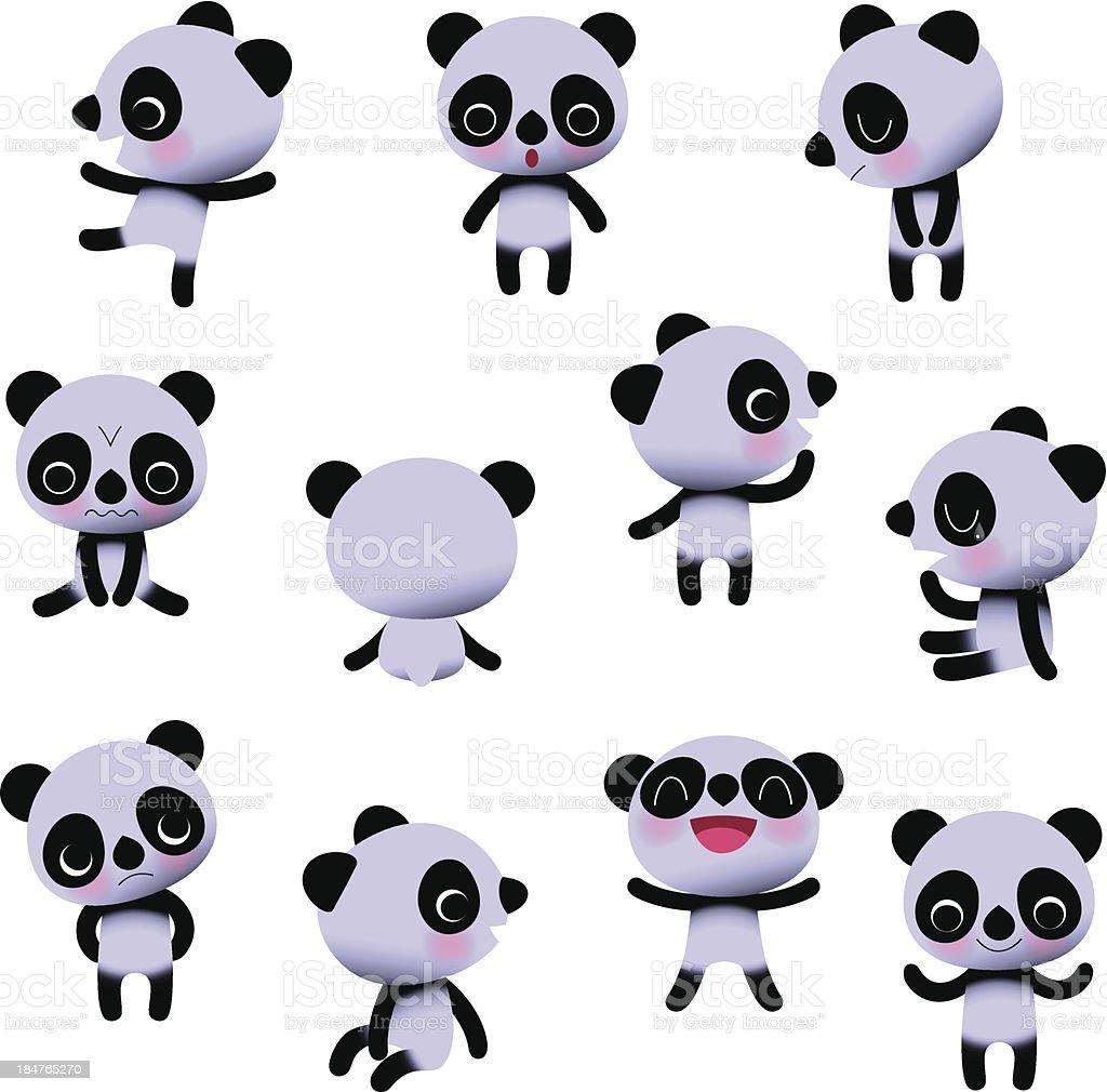 Cute Little Pandas. vector art illustration