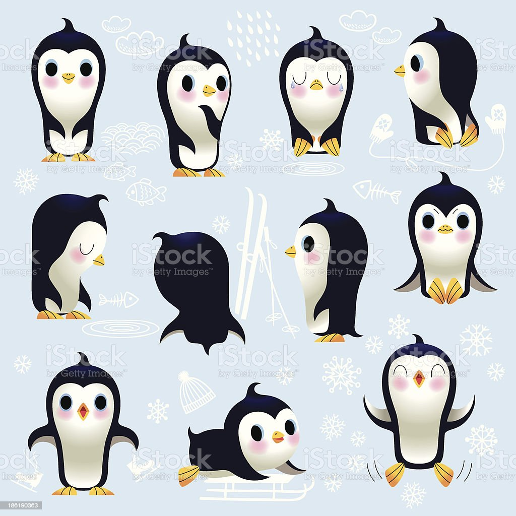 Cute Little Penguins. vector art illustration