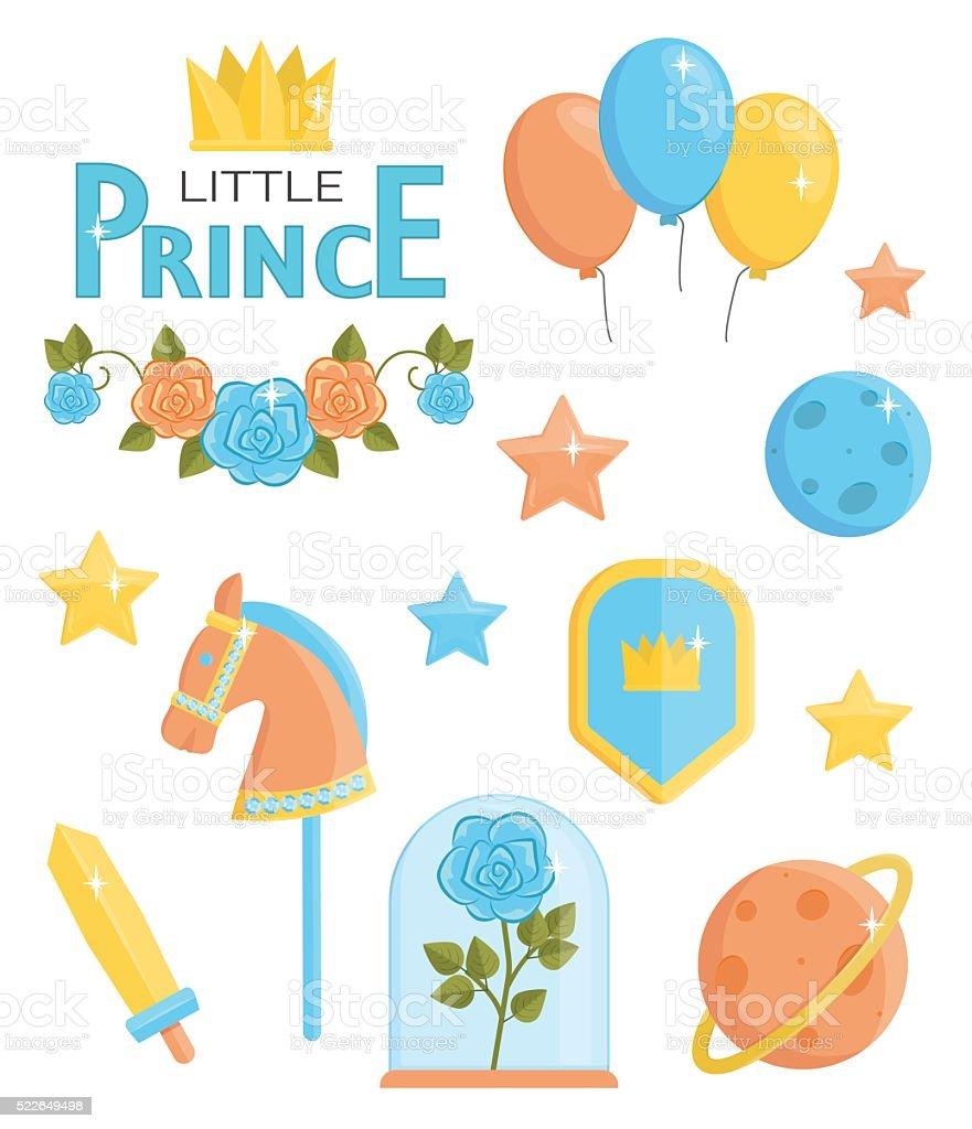 Cute little prince icons vector art illustration