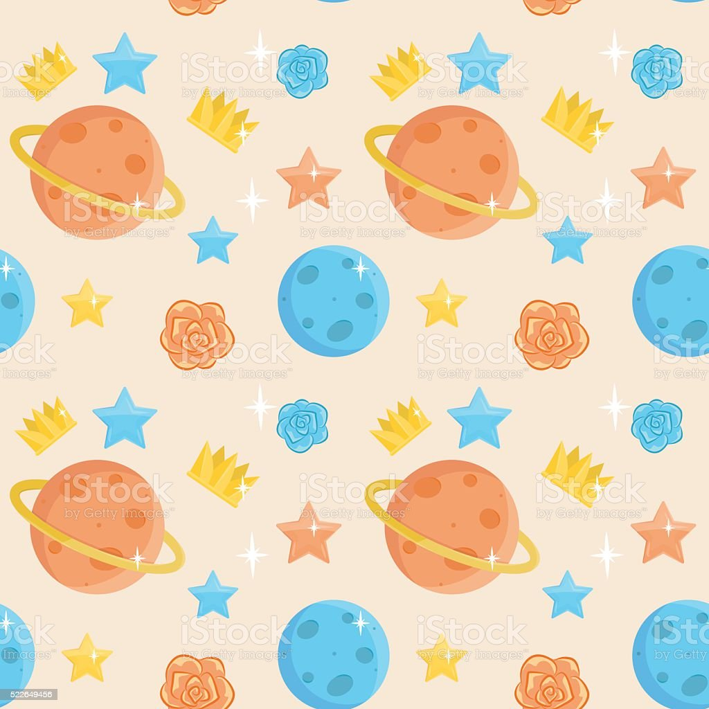 Cute little prince seamless pattern vector art illustration