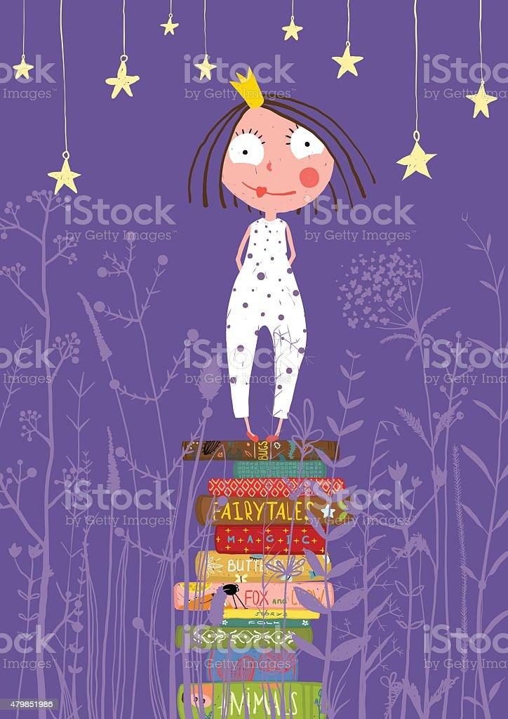 Cute Little Princess Girl Standing on Stack of Books in vector art illustration