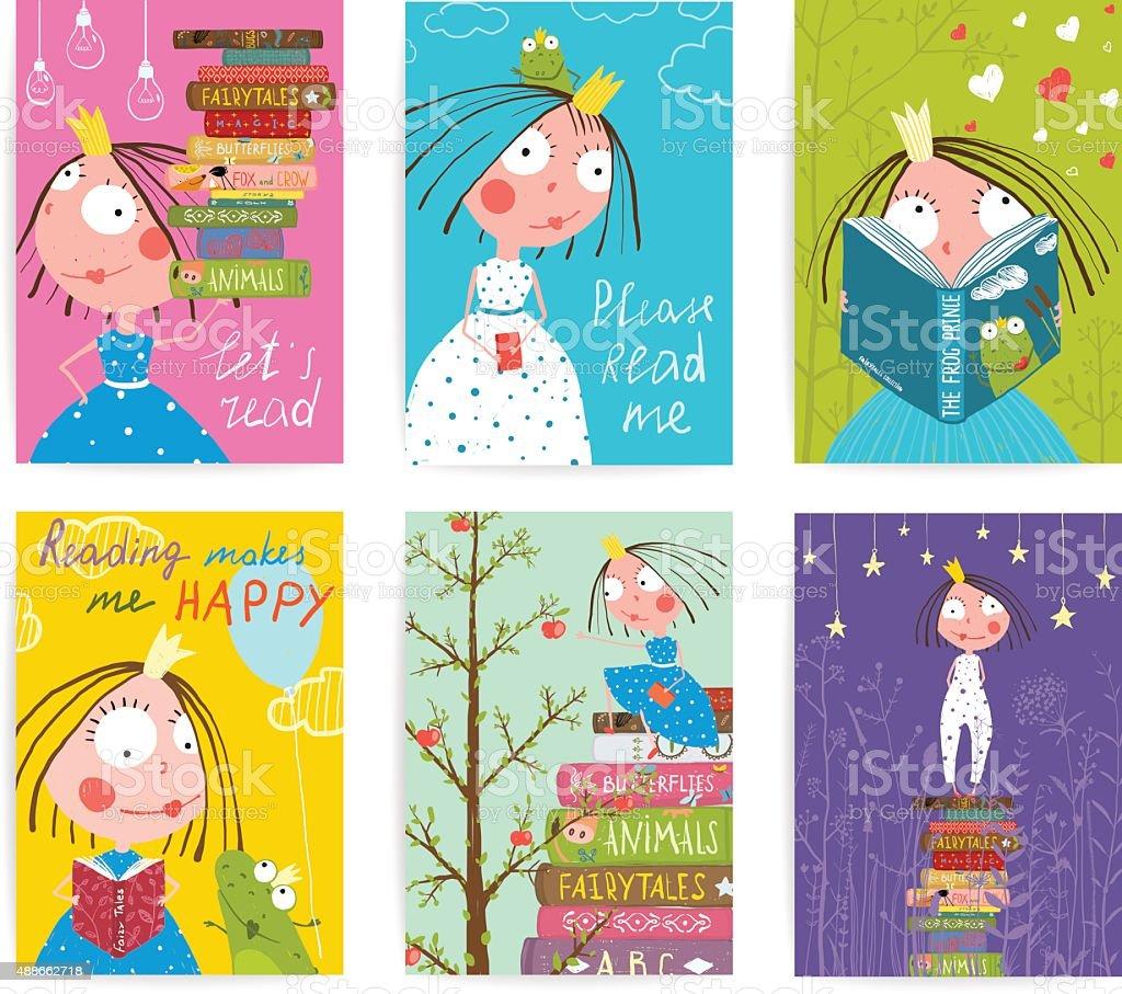 Cute Little Princess Kids Reading Fairy Tale Books Library Poster vector art illustration