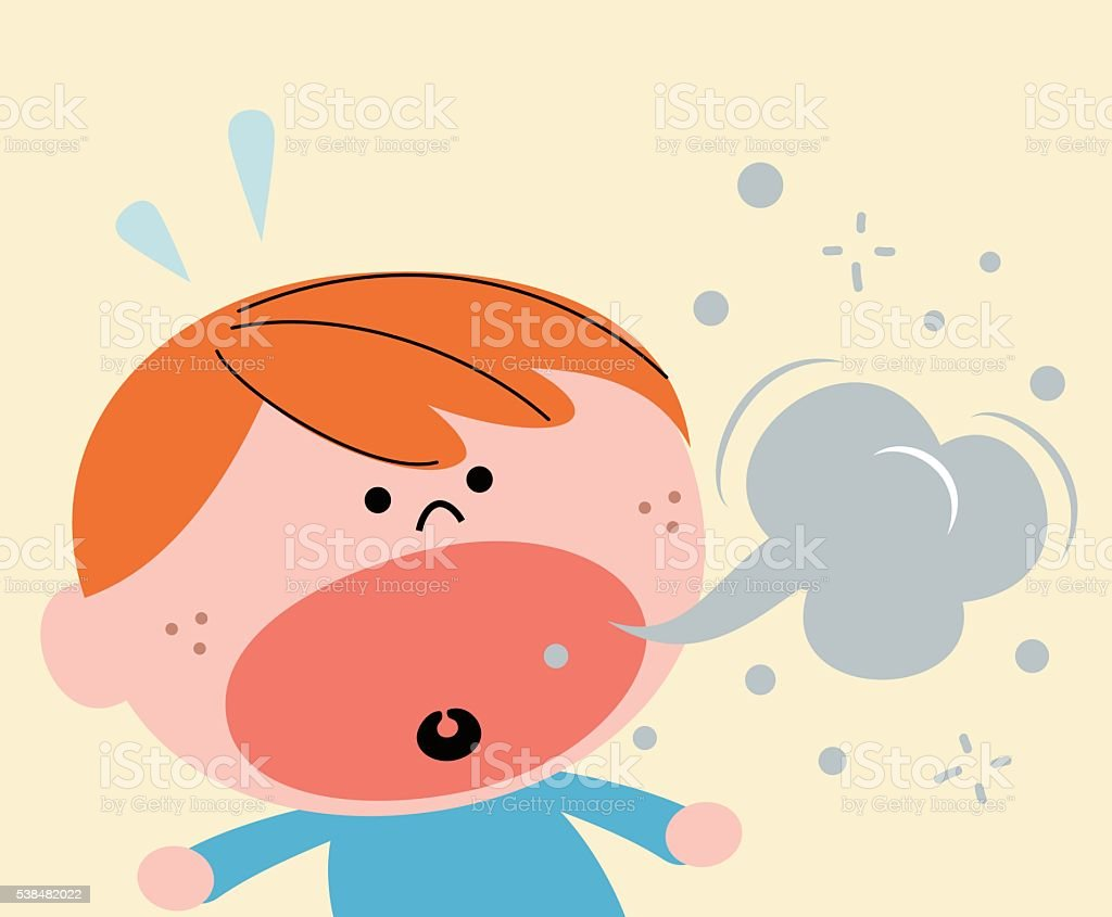 Cute little red hair boy (kid) burping, bad breath vector art illustration