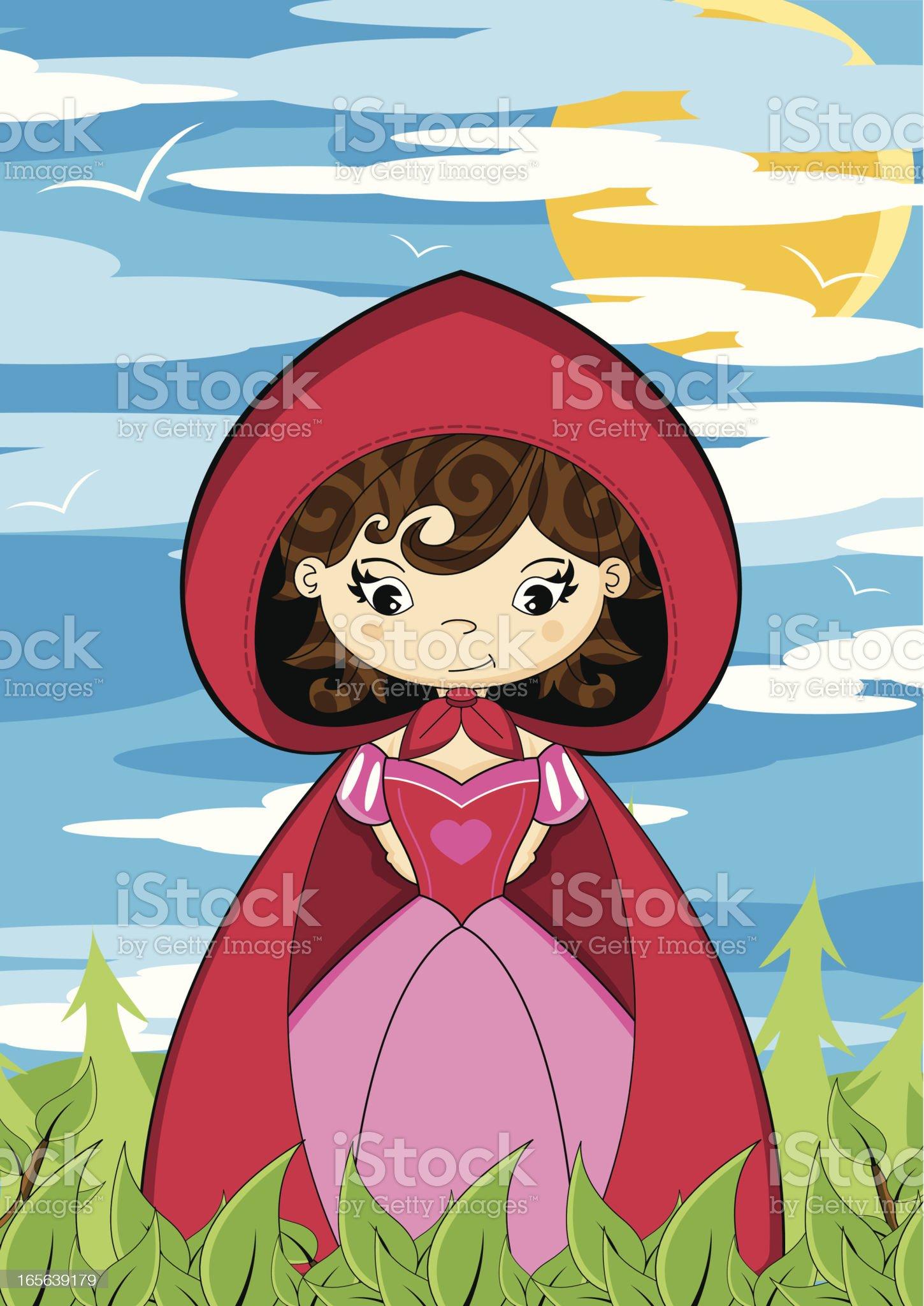 Cute Little Red Riding Hood Scene royalty-free stock vector art