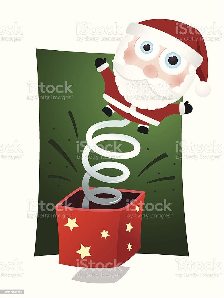 Cute little Santa jack-in-the-box royalty-free stock vector art