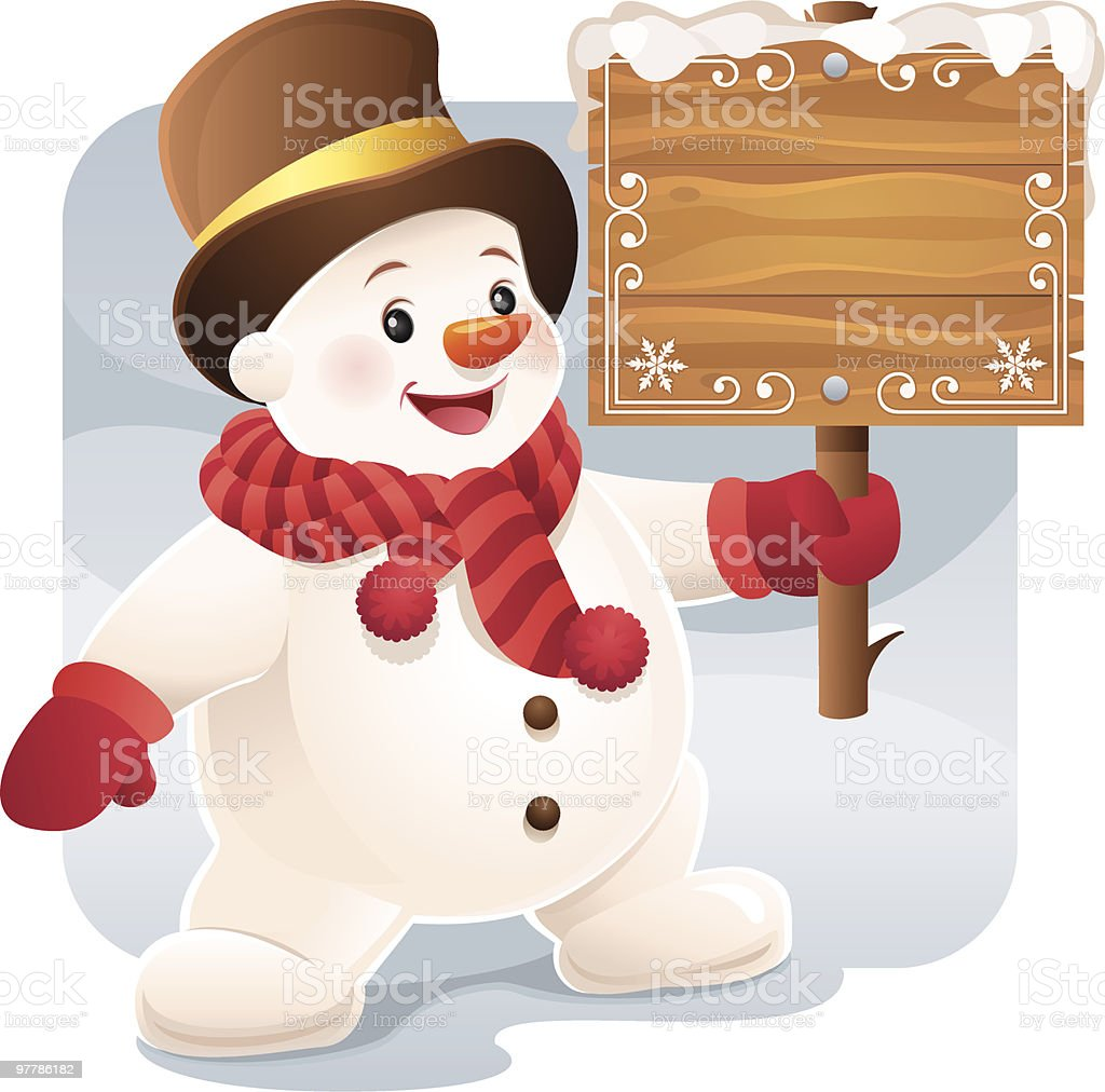 Cute little Snowman holding a blank Wooden Sign royalty-free stock vector art