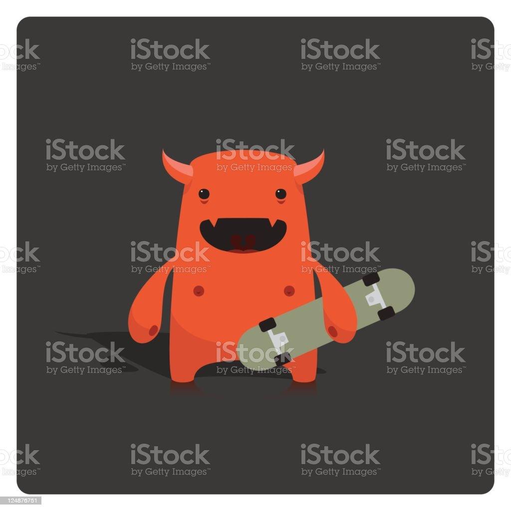 Cute Little Vector Devil Skater Character Holding Skateboard royalty-free stock vector art