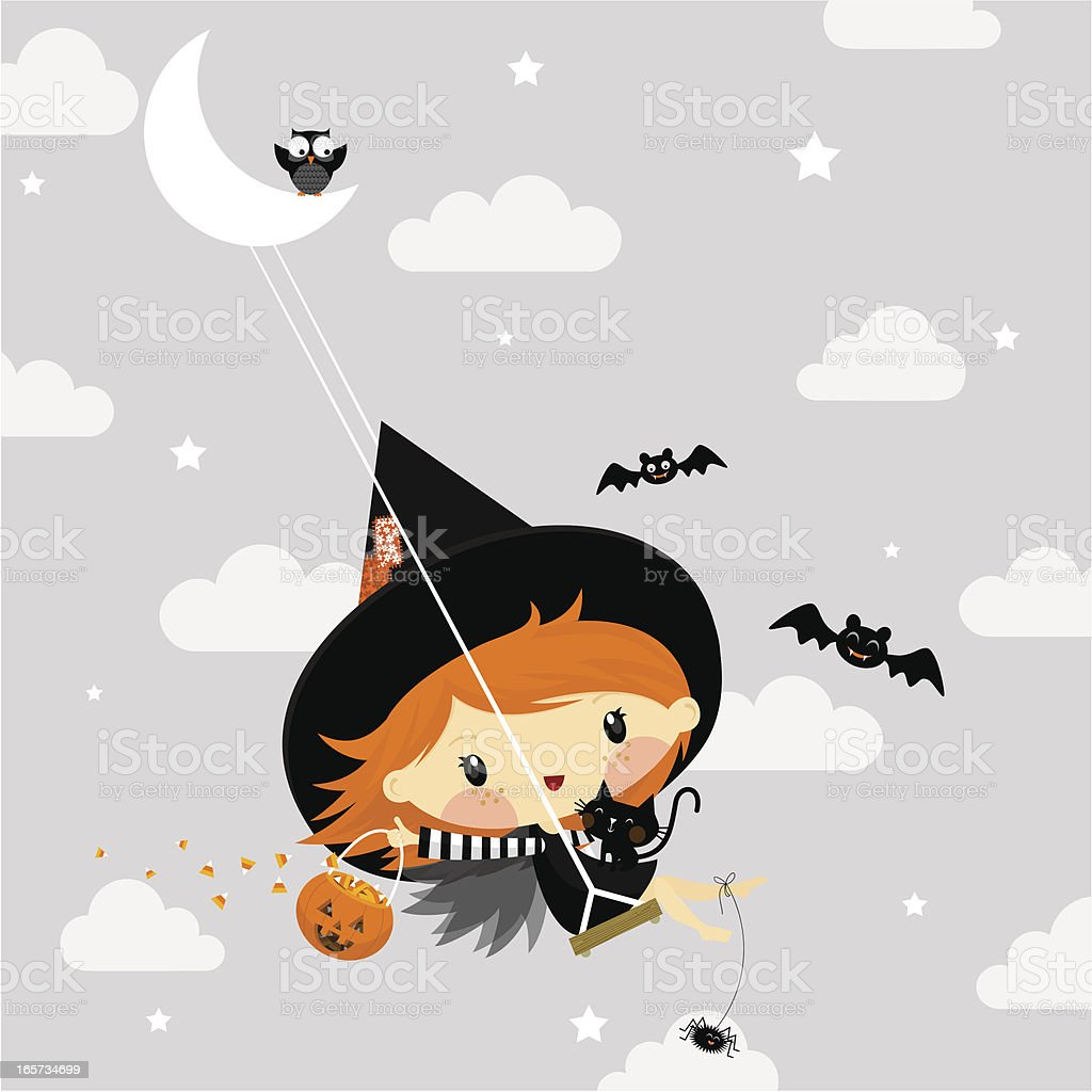 Cute little witch in halloween illustration vector royalty-free stock vector art