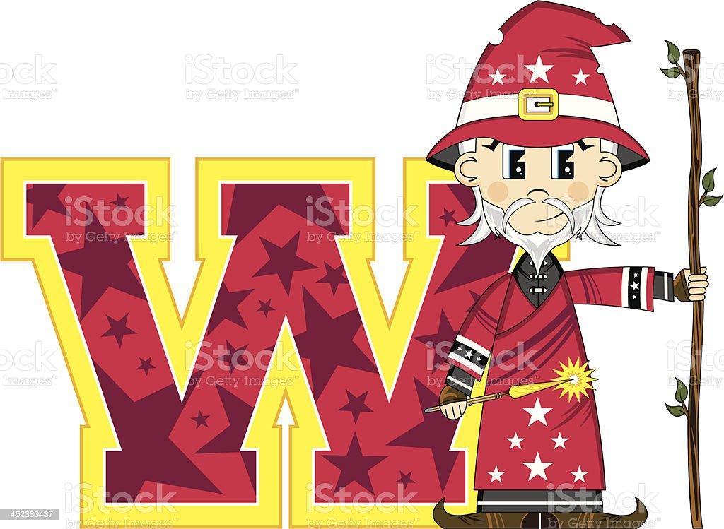 Cute Little Wizard Learning Letter W royalty-free stock vector art