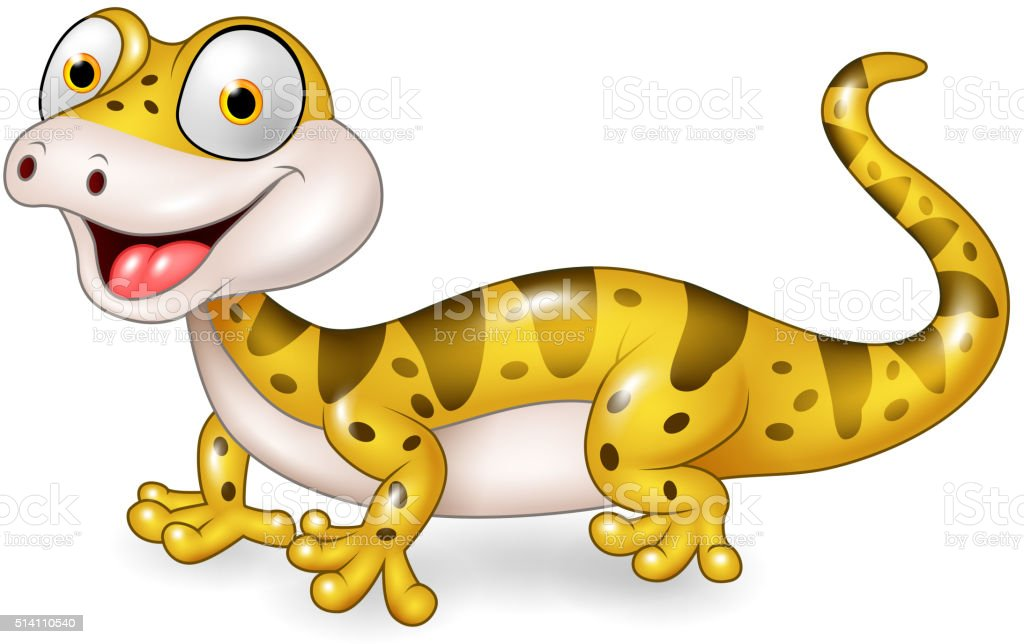 Cute lizard posing isolated on white background vector art illustration