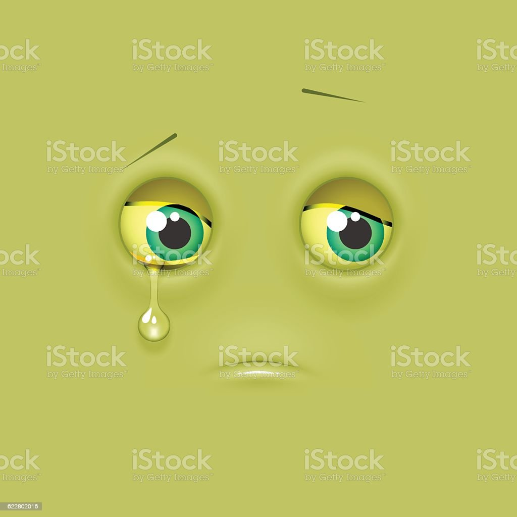 Cute lonely shaded emoji on flat square background vector art illustration