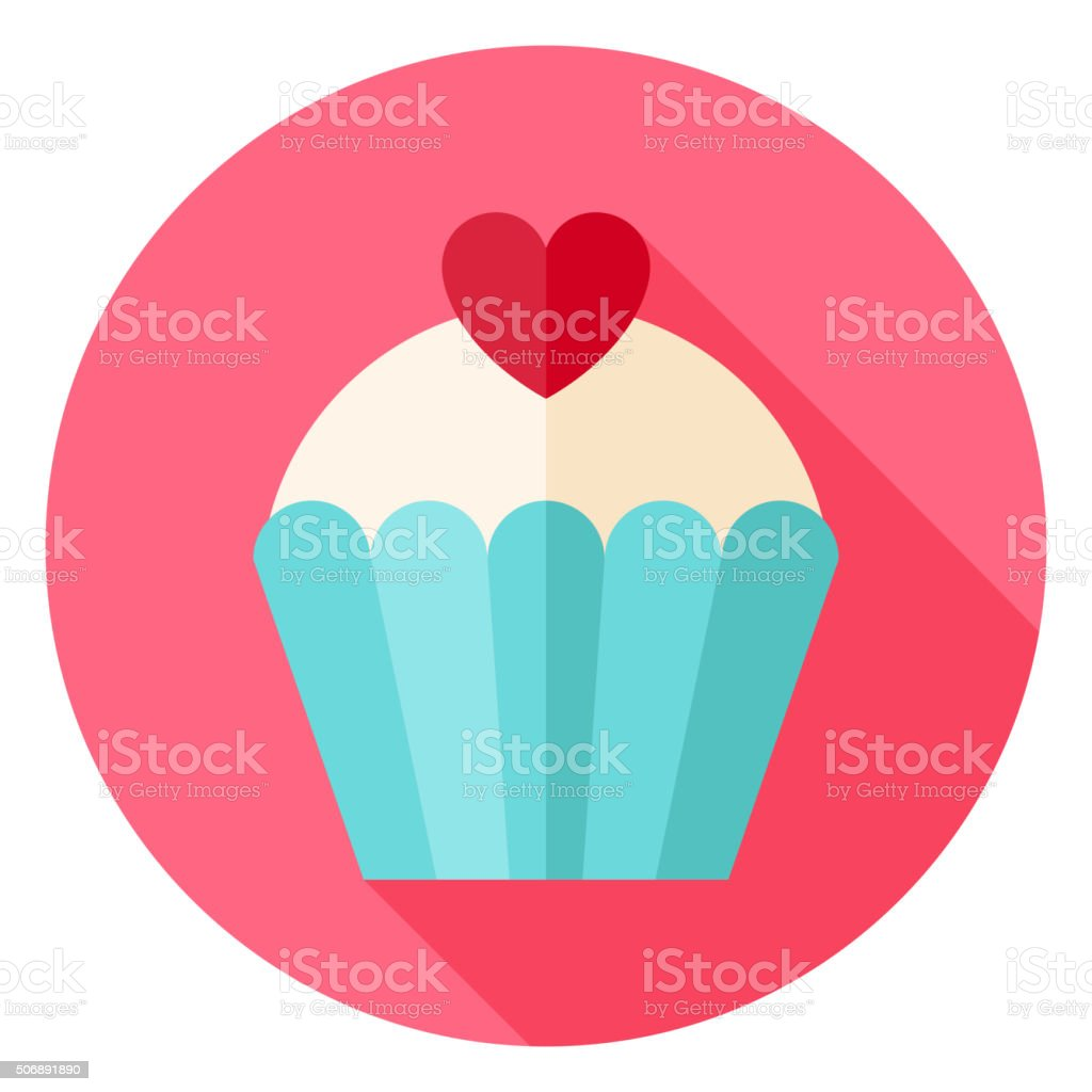 Cute Lovely Cupcake with Heart Circle Icon vector art illustration