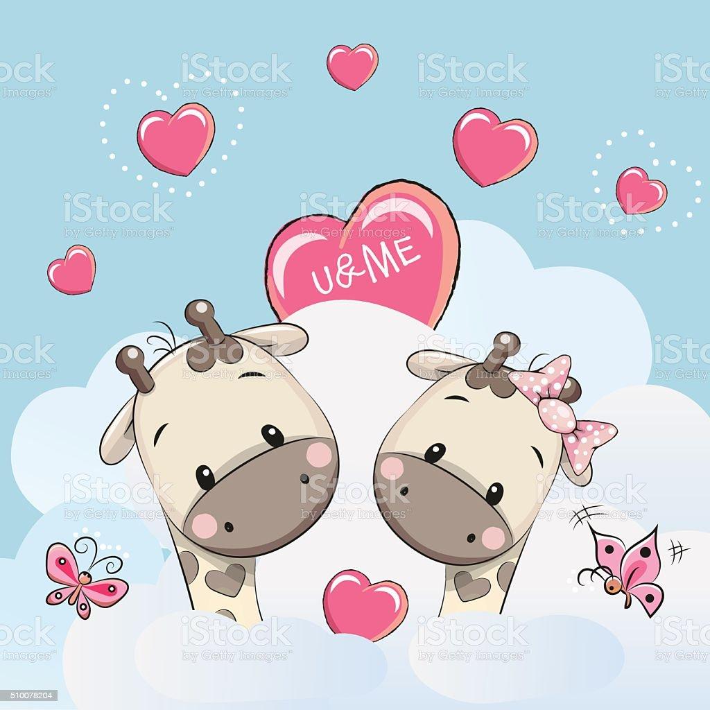 Cute Lovers Giraffes vector art illustration