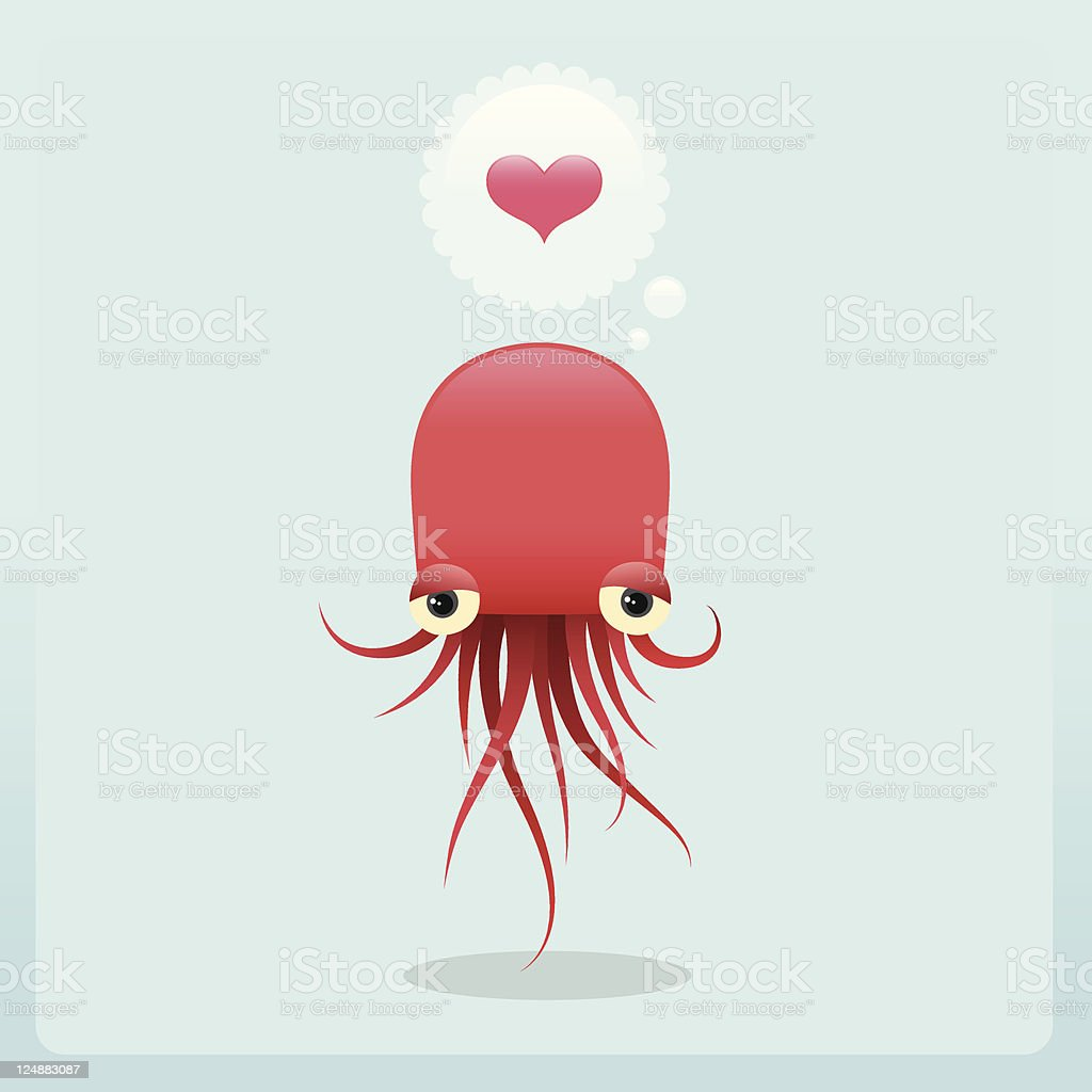Cute Lovesick Jellyfish Character With Love royalty-free stock vector art