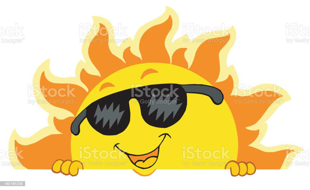 Cute lurking Sun with sunglasses royalty-free stock vector art