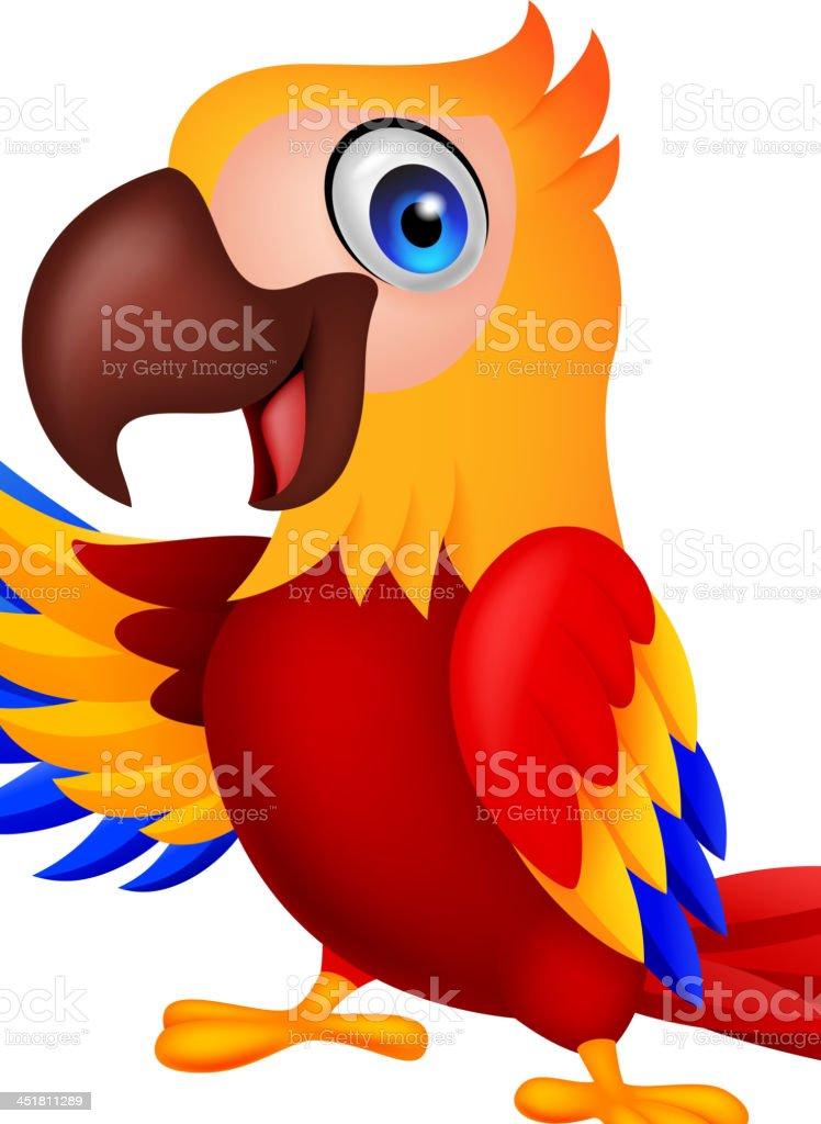 Cute macaw bird cartoon waving royalty-free stock vector art