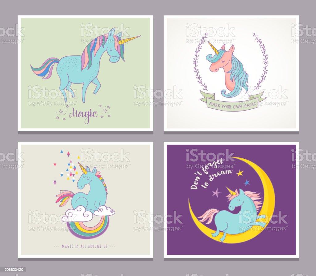 cute magic unicon and rainbow greeting cards vector art illustration