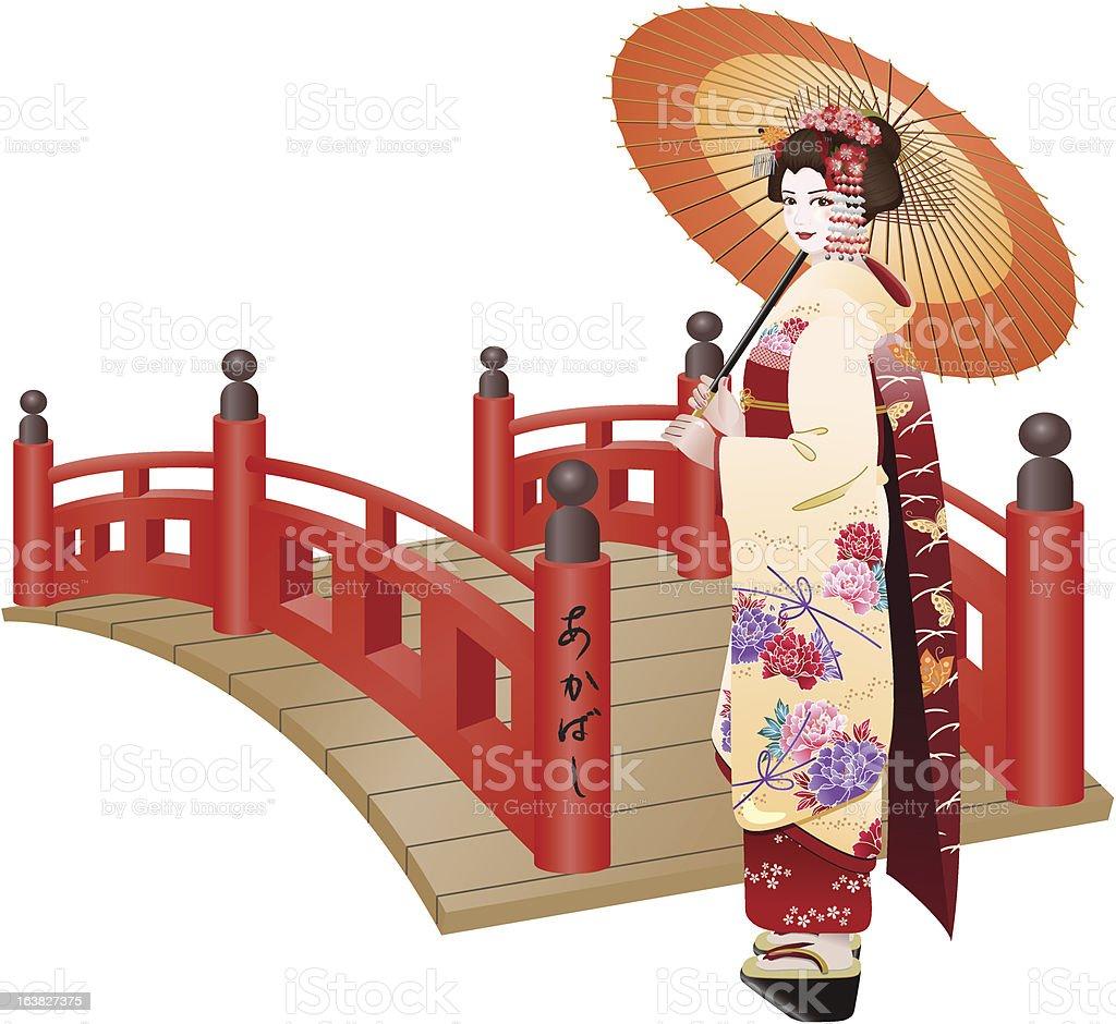 Cute Maiko vector art illustration