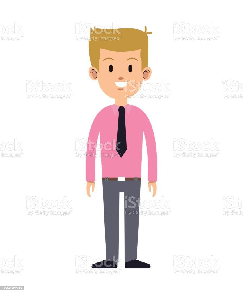 cute man necktie pink shirt attractive vector art illustration