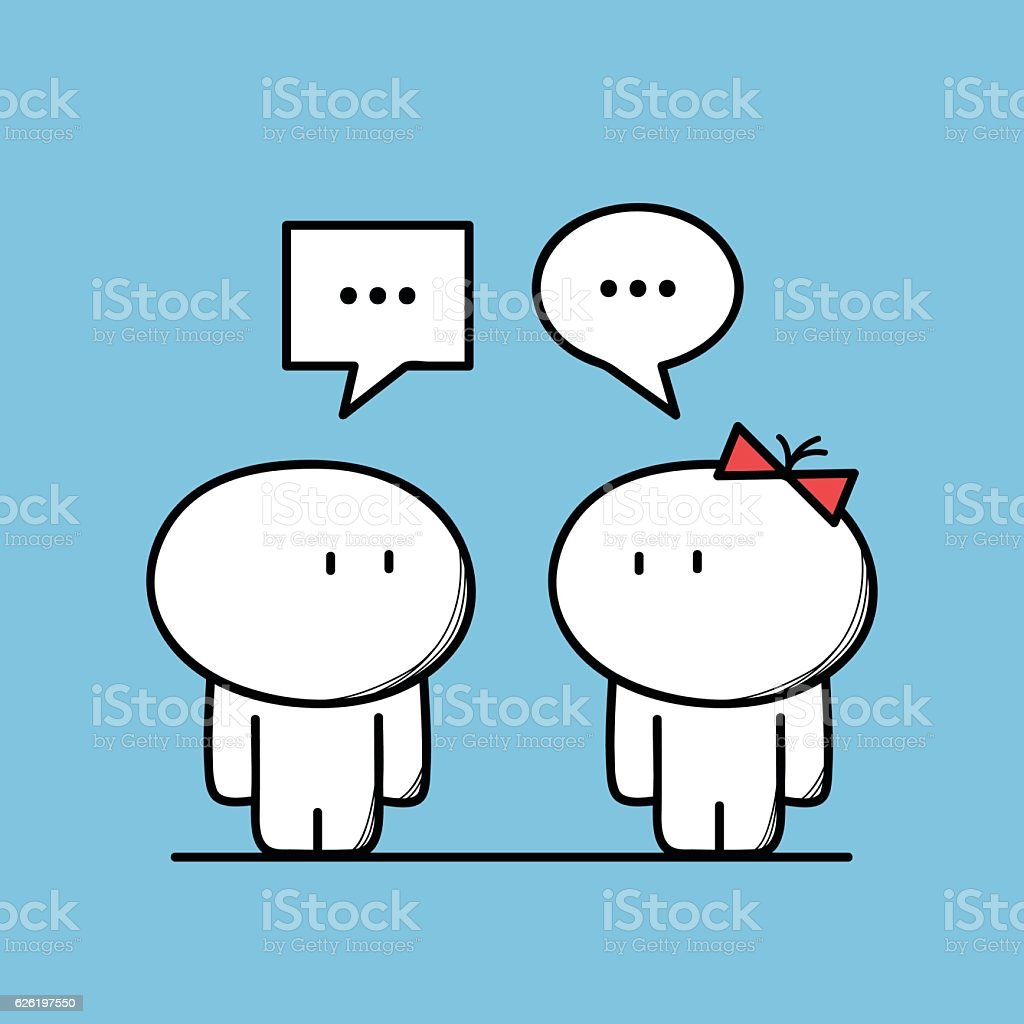 Cute man talks to a woman stock photo