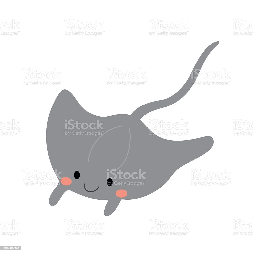 Cute Manta ray animal cartoon character vector illustration vector art illustration