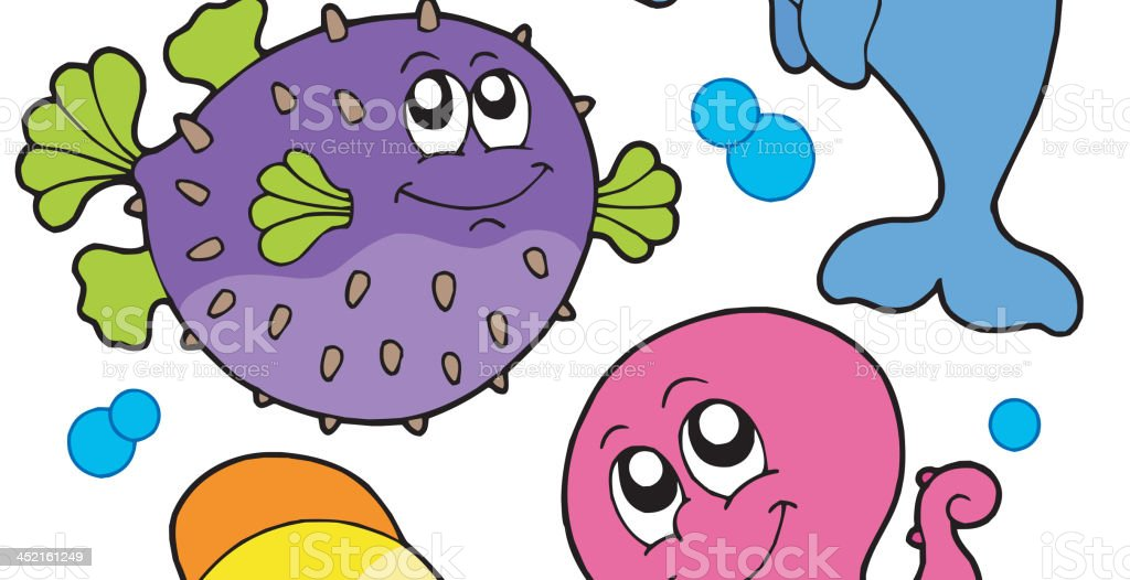 Cute marine animals collection 1b royalty-free stock vector art