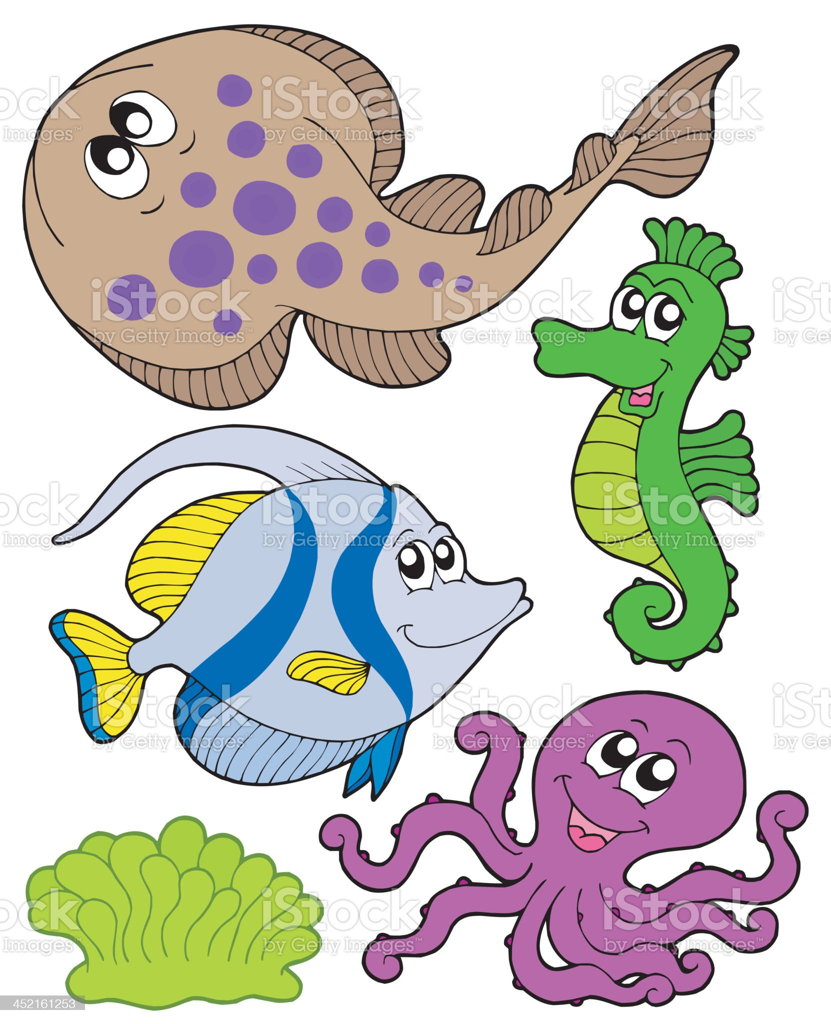 Cute marine animals collection 3 royalty-free stock vector art