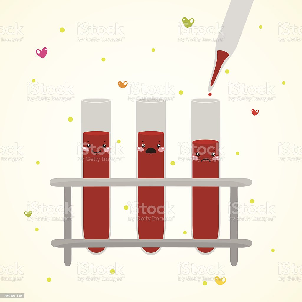 Cute medical test tube with blood and pipette royalty-free stock vector art