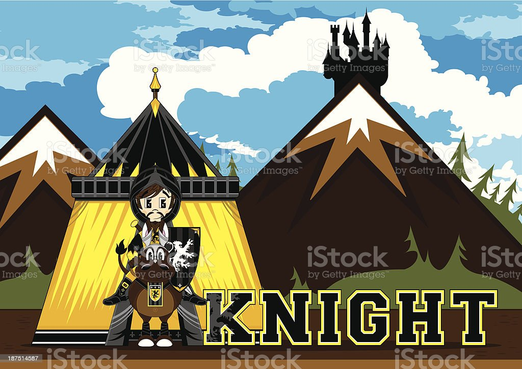 Cute Medieval Knight Learning Illustration royalty-free stock vector art