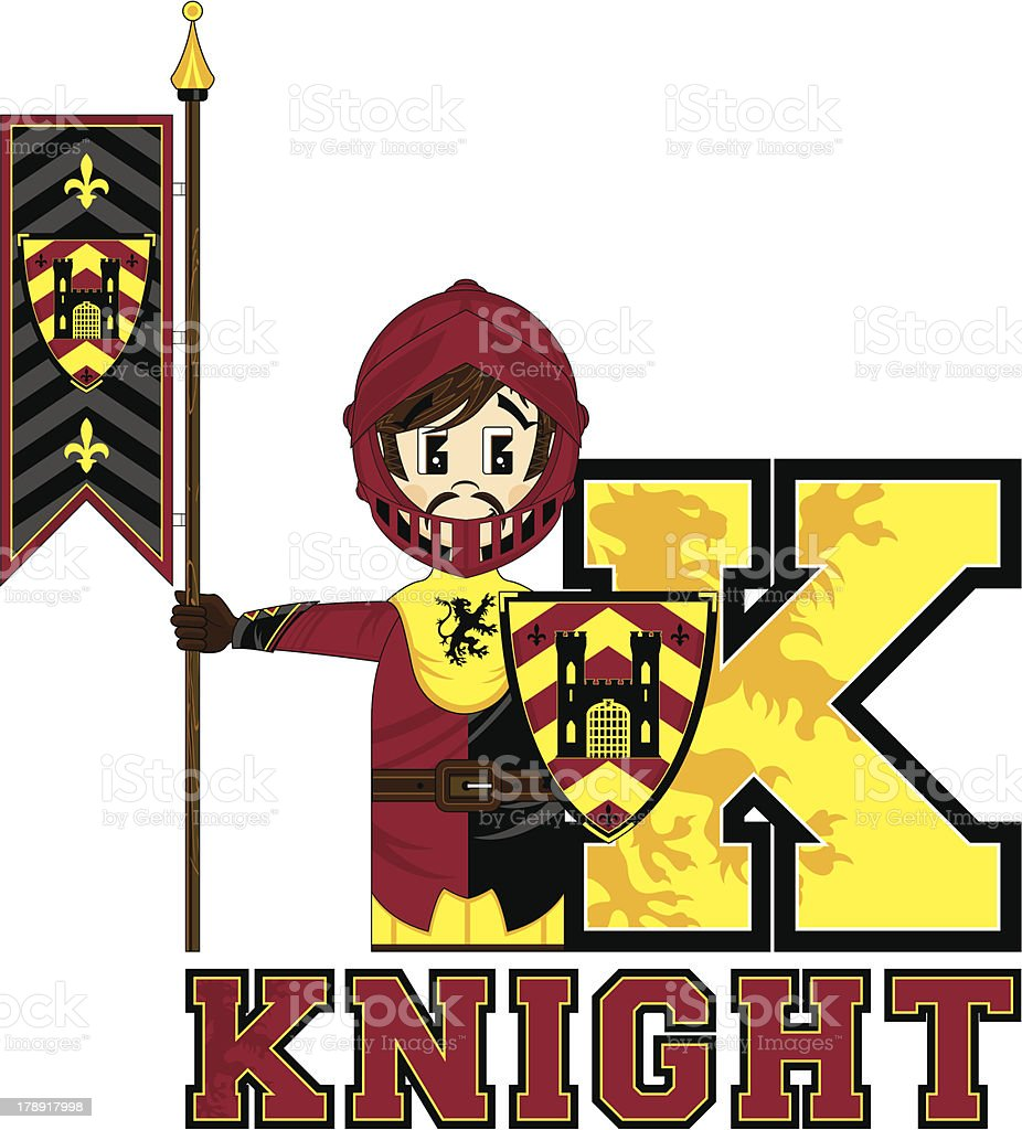 Cute Medieval Knight Learning Letter K royalty-free stock vector art
