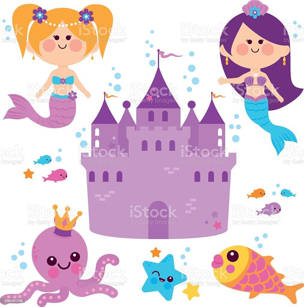 Cute mermaids underwater vector set vector art illustration