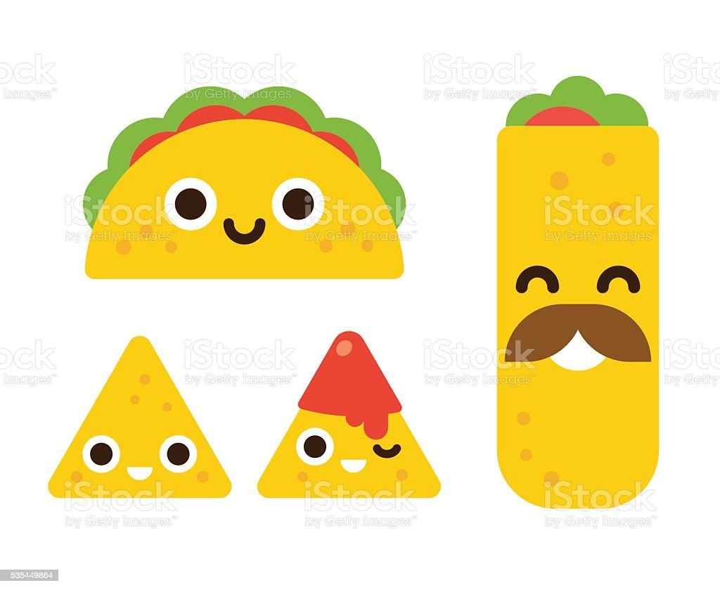 Cute mexican food vector art illustration