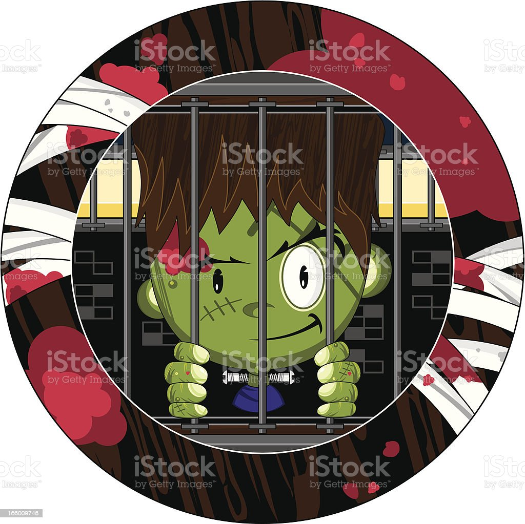 Cute Mini Frankenstein in Cell royalty-free stock vector art