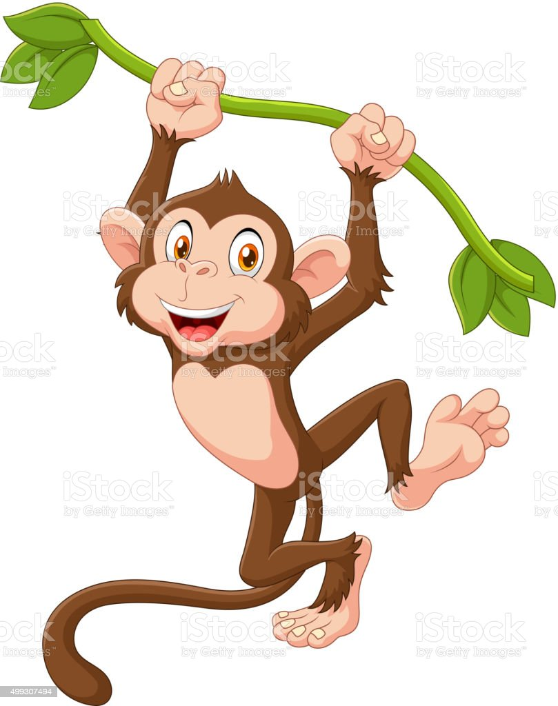Cute monkey animal hanging on a vine vector art illustration