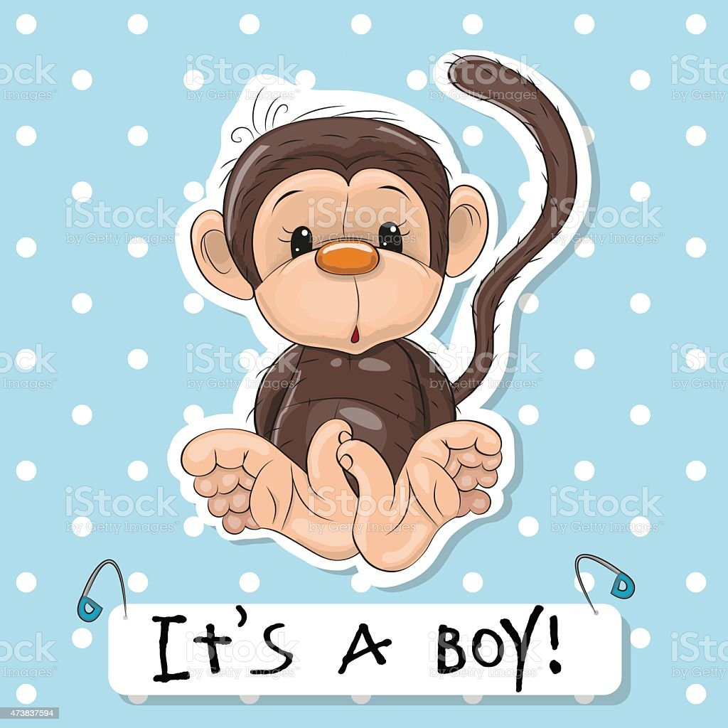 Cute Monkey boy vector art illustration
